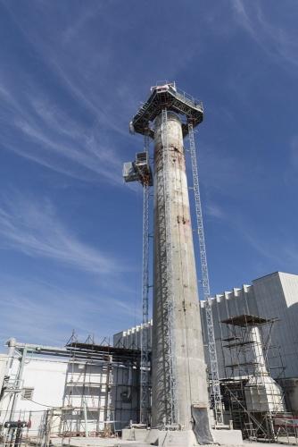 Déconstruction de la cheminée sur le chantier de démantèlement de la centrale nucléaire de Garigliano. | Philippe DUREUIL Photographie
