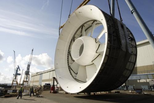 Reportage industriel sur le suivi de construction de l'hydrolienne l'Arcouest pour les groupes industriels EDF et DCNS | Philippe DUREUIL Photographie