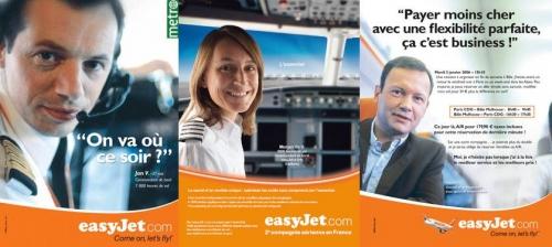 Photographies de portraits illustrant les annonces presse publicitaires - Annonceur : EasyJet Agence : L'agence libre - Directeur de création : Fabrice Rondon | Philippe DUREUIL Photographie
