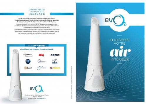 Plaquette de présentation du purificateur d'air evO2. Photographie de packshot réalisée en studio mobile pour la société Mercate. | Philippe DUREUIL Photographie