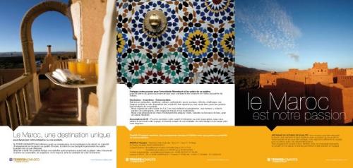 Dépliant publicitaire touristique Maroc - Annonceur : Terres Nomades - Agence : Waixing® - Directeur artistique : Régis Biecher | Philippe DUREUIL Photographie