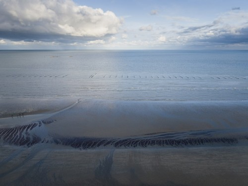 Photo aérienne par drone. Plage à marée basse, Utah Beach. | Philippe DUREUIL Photographie