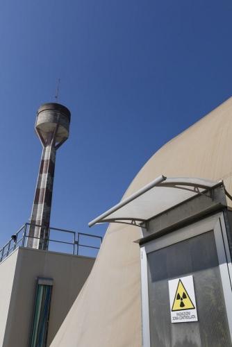 Photo extérieure de la signalétique à la centrale nucléaire de Garigliano, Italie. | Philippe DUREUIL Photographie