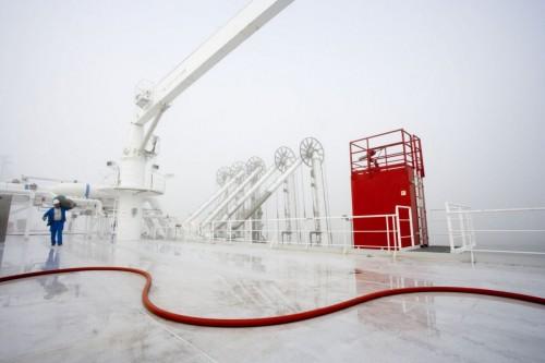 Photographie  industrielle sur un navire méthanier