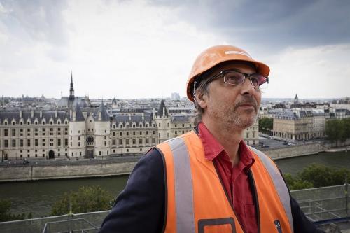 Christian Laporte, Architecte du Patrimoine. Chantier de restauration du Théâtre du Châtelet à Paris | Philippe DUREUIL Photographie