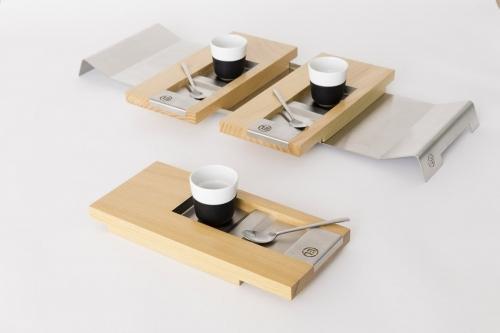 Photo de packshot d'objets design. Plateaux de service à café dessinés par le designer Thierry Bonne. | Philippe DUREUIL Photographie