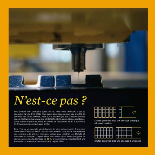 Photo illustrant la coupe de précision dans une brochure développement durable - Annonceur : InterfaceFLOR - Agence : Sidièse - DC : Guillaume Müller | Philippe DUREUIL Photographie